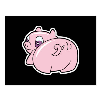 pig wiggling tail postcard