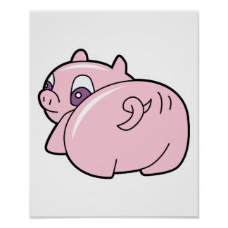 pig wiggling tail print