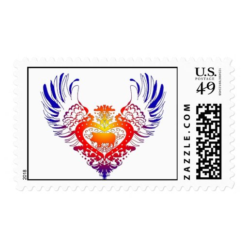 Pig Winged Heart Stamp