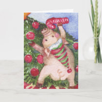 Pig with a Candy Cane admiring Christmas Tree Holiday Card