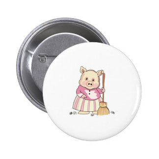 Pig With Broom Pinback Button