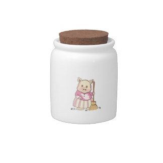 Pig With Broom Candy Jar