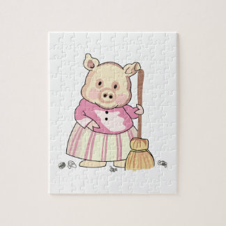 Pig With Broom Jigsaw Puzzles