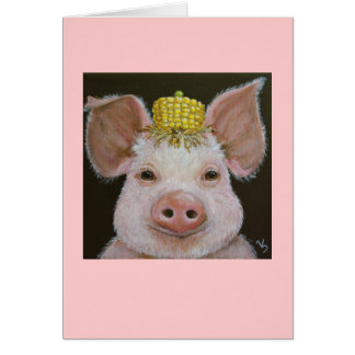 pig with corn and pea hat on card