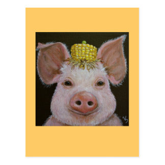 pig with corn and pea hat postcard