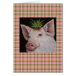 pig with grass clump hat greeting card