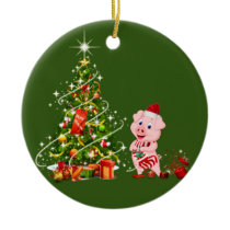pig With Hat Scafts  Christmas Ceramic Ornament