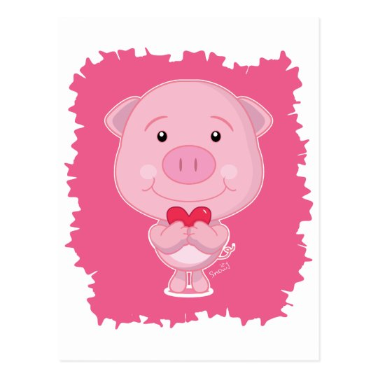 Pig With Heart Postcard