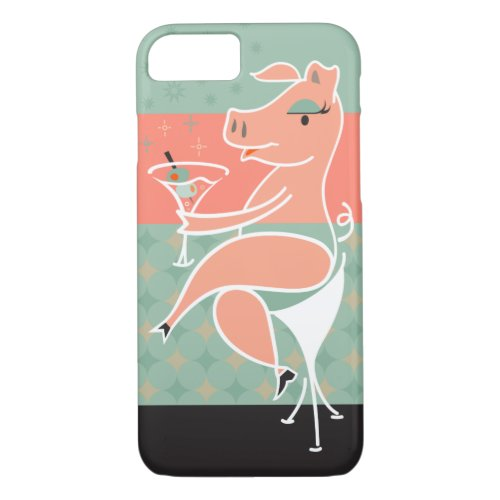 Pig with Martini Phone Case