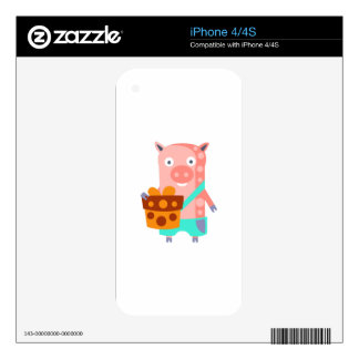 Pig With Party Attributes Girly Stylized Funky iPhone 4 Decals