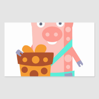 Pig With Party Attributes Girly Stylized Funky Rectangular Sticker