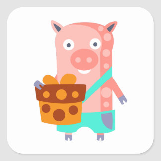 Pig With Party Attributes Girly Stylized Funky Square Sticker