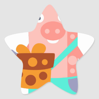 Pig With Party Attributes Girly Stylized Funky Star Sticker