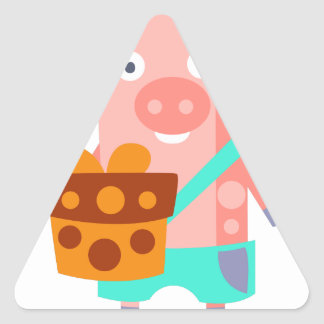 Pig With Party Attributes Girly Stylized Funky Triangle Sticker