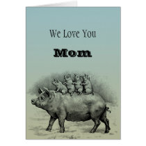 Pig with Piglets Card