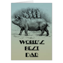 Pig with Piglets Father's Day Card