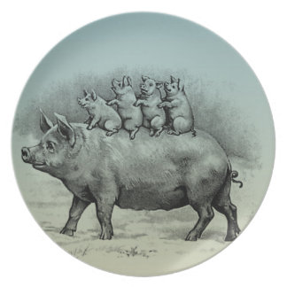 Pig with Piglets Melamine Plate