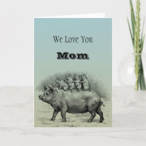 Pig with Piglets Thank You Card