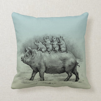 Pig with Piglets Throw Pillow
