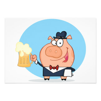 Pig With Pint of Beer Invitations
