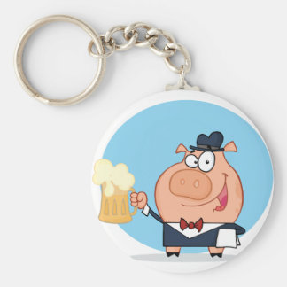 Pig With Pint of Beer Keychain