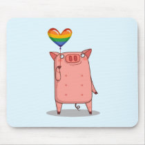 Pig With Rainbow Balloon Mouse Pad