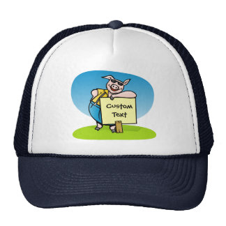Pig with sign trucker hats