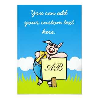 Pig with Sign 4.5x6.25 Paper Invitation Card