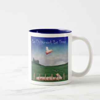 Pig With Wings-Be Different, Be Free Two-Tone Coffee Mug