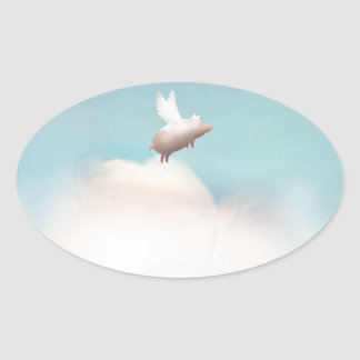 pig with wings oval sticker