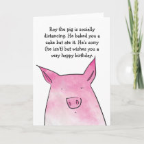 Pig without cake birthday card