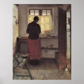 Pigen i Køkkenet Ancher Vintage Impressionism Posters