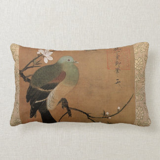 Pigeon and peach blossom throw pillow