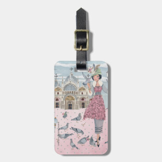 Pigeon Bird Girl in Venice | Luggage Tag