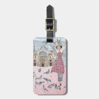 Pigeon Bird Girl in Venice | Luggage Tag