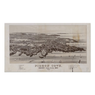 Pigeon Cove Mass. 1886 Antique Panoramic Map Poster