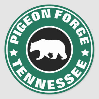 Pigeon Forge Tennessee Round Green & Black Bear Classic Round Sticker
