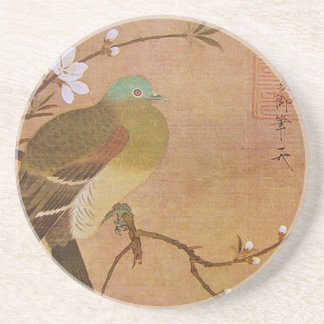 Pigeon on a Peach Branch Drink Coaster