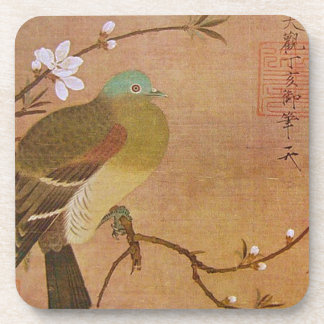 Pigeon on a Peach Branch Drink Coasters