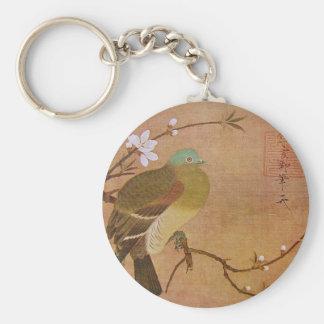 Pigeon on a Peach Branch Keychain