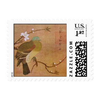 Pigeon on a Peach Branch Postage