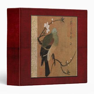 Pigeon on the Peach Tree Vintage Japanese Floral 3 Ring Binder
