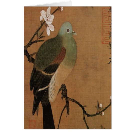 Pigeon on the Peach Tree Vintage Japanese Floral Card