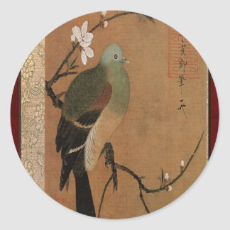 Pigeon on the Peach Tree Vintage Japanese Floral Classic Round Sticker