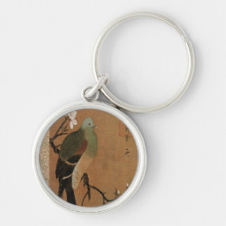 Pigeon on the Peach Tree Vintage Japanese Floral Silver-Colored Round Keychain