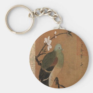 Pigeon on the Peach Tree Vintage Japanese Floral Basic Round Button Keychain
