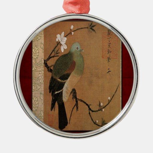 Pigeon on the Peach Tree Vintage Japanese Floral Metal Ornament