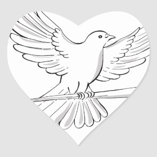 Pigeon or Dove Flying With Cane Drawing Heart Sticker