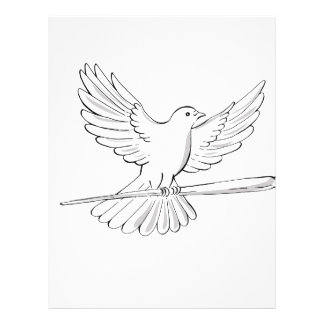 Pigeon or Dove Flying With Cane Drawing Letterhead