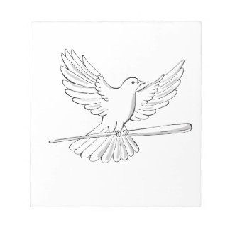 Pigeon or Dove Flying With Cane Drawing Notepad